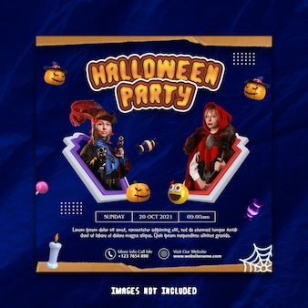 Halloween party social media banner vorlage premium psd