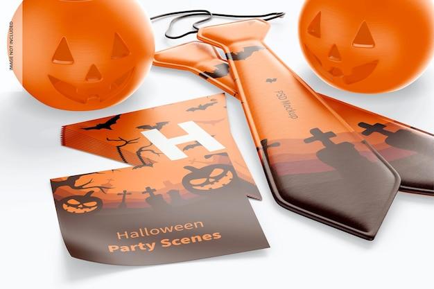 Halloween party szene mockup, nahaufnahme