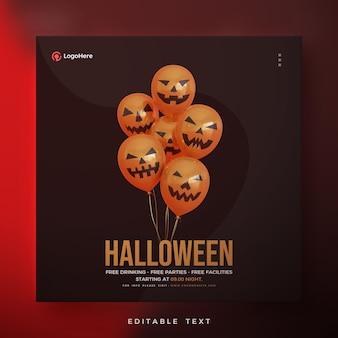 Halloween-plakat mit 3d-illustrationsballons rendern