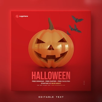 Halloween-plakat mit der kürbisillustration 3d