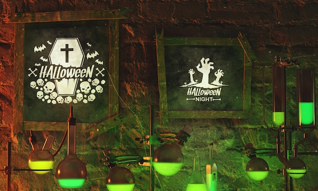 Halloween-rahmen mit neonlicht auf steinhintergrund
