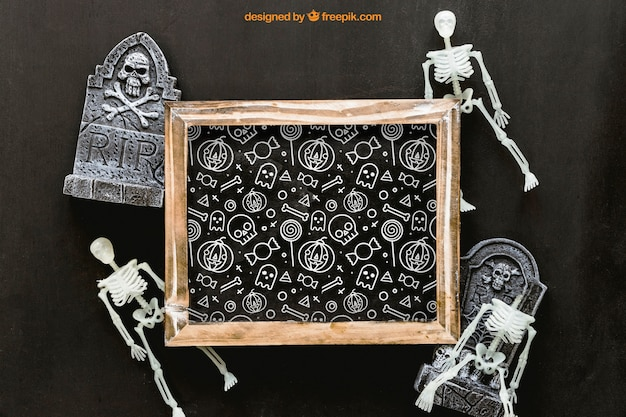 Halloween schiefer mockup mit grabsteinen und skeletten