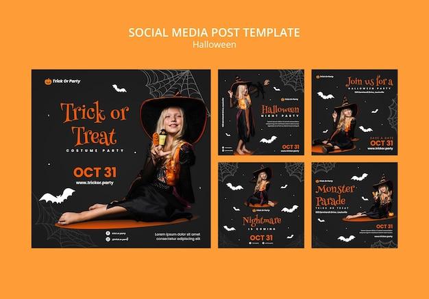 Halloween süßes oder saures social-media-beitrag