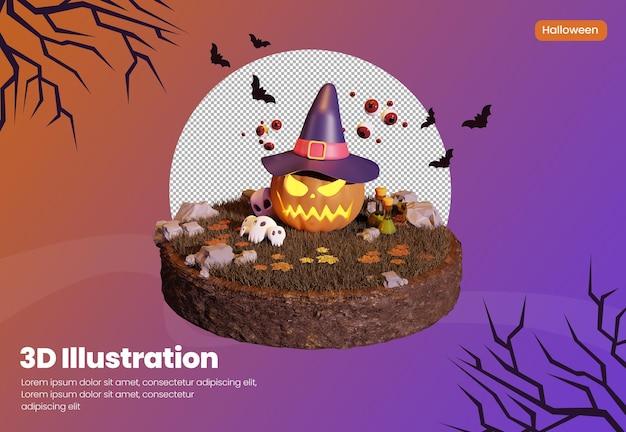 Halloween-thema 3d-rendering-illustration mit kürbis mit hut