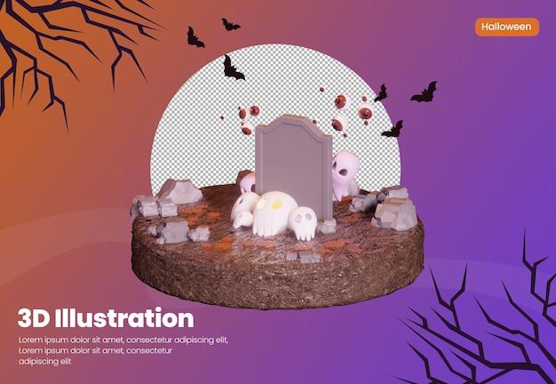 Halloween-thema 3d-rendering-illustration mit totenkopf und süßem geist