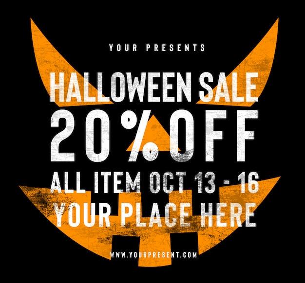 Halloween-verkauf facebook- und instagram-beitragsschablone