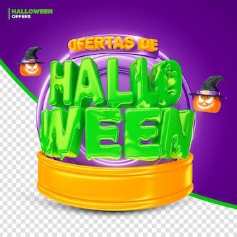 Halloween-werbeaktion bietet label 3d-render für komposition