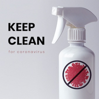Halten sie das mockup für soziale coronavirus-vorlagen sauber