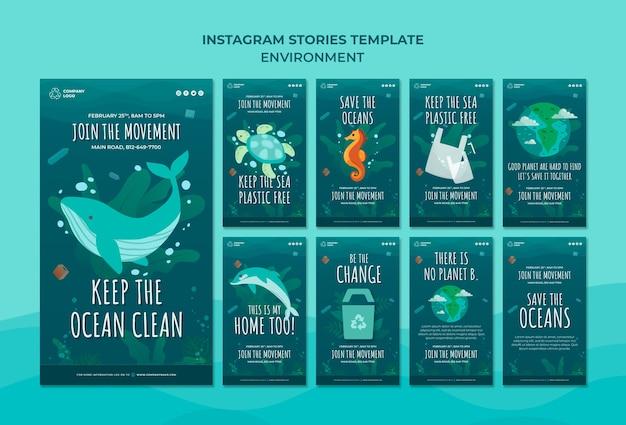 Halten sie den ozean sauber instagram geschichten vorlage