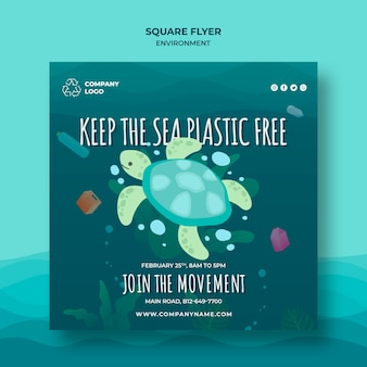 Halten sie den ozean sauber quadratische flyer vorlage mit schildkröte