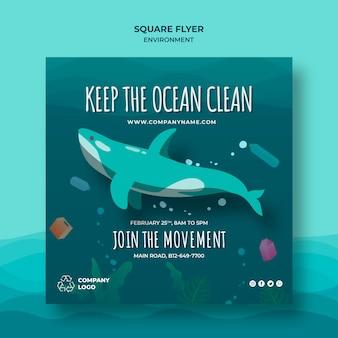 Halten sie den ozean sauber quadratische flyer vorlage mit wal