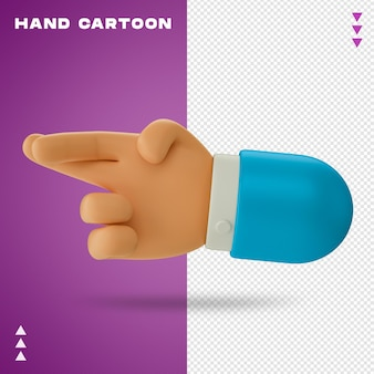 Hand cartoon 3d rendering isoliert