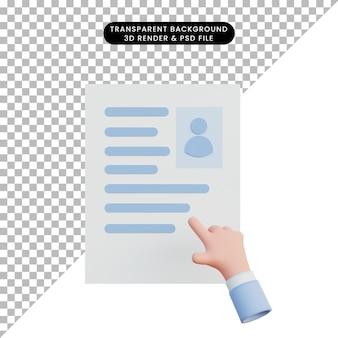 Hand der illustration 3d, die auf jemanden lebenslauf zeigt