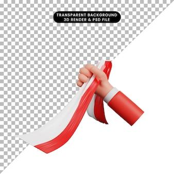 Hand der illustration 3d, die indonesische bandflagge hält