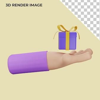 Hand der wiedergabe 3d mit geschenkkonzept