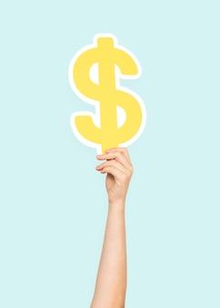 Hand, die dollarzeichen hält