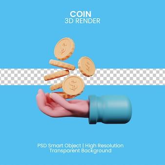Hand, die münzkonzept hält. 3d-darstellung
