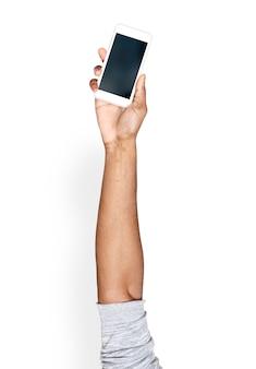 Hand, die smartphone hält
