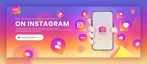 Hand, die telefon-instagram-symbole um das 3d-rendering-mockup für die facebook-cover-vorlage für die werbung hält