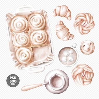 Hand gezeichnete illustration der frischen bäckerei, kaffee, brötchen, croissants, apfelkuchen-clipart