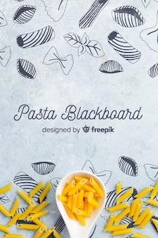 Hand gezeichneter hintergrund mit köstlichen teigwaren