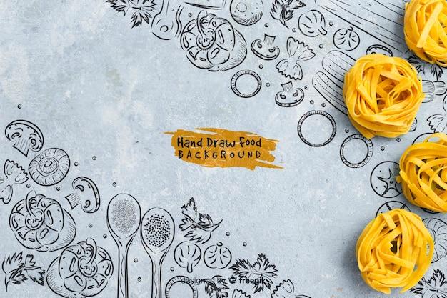 Hand gezeichneter lebensmittelhintergrund mit teigwaren