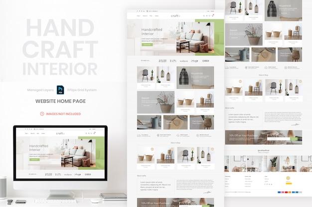 Hand handwerk interieur website homepage vorlage