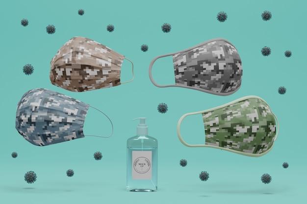 Handgemachte gesichtsmasken, umgeben von viren mit modell