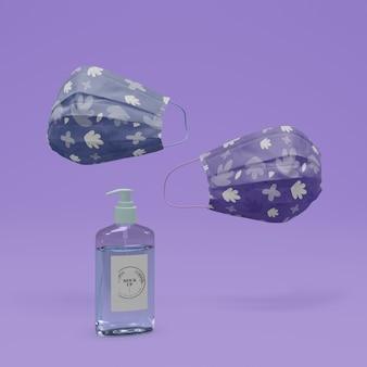 Handgemachte gesichtsmasken und händedesinfektionsmittel mit modell