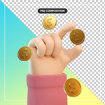 Handgeste der karikatur 3d mit dollarmünze