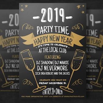 Handgezeichnete happy new year flyer vorlage