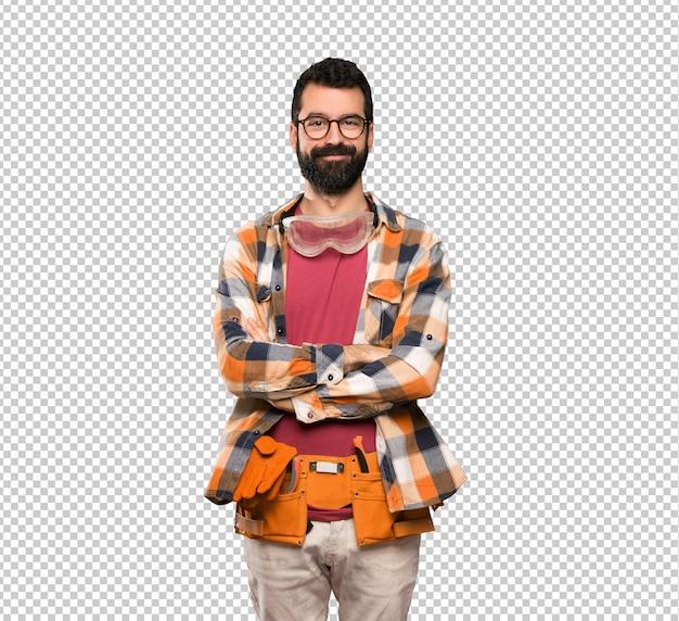 Handwerker mann mit brille und glücklich