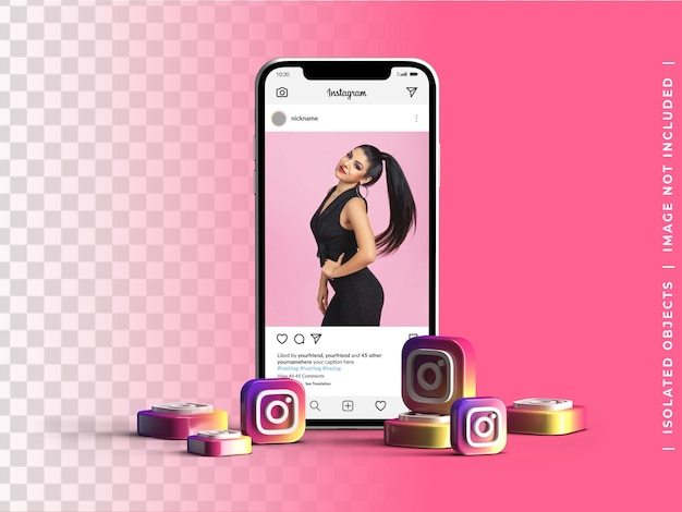 Handy-bildschirm gerätemodell mit haufen 3d instagram logo icons social media konzept isoliert