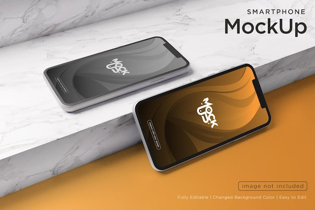 Handy-bildschirm mockup-design auf marmor textur