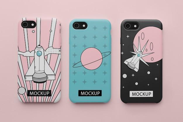 Handy mit hülle minimalistisches design mock-up