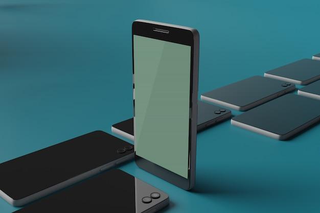 Handy-modell 3d-rendering für scene creator-werbung