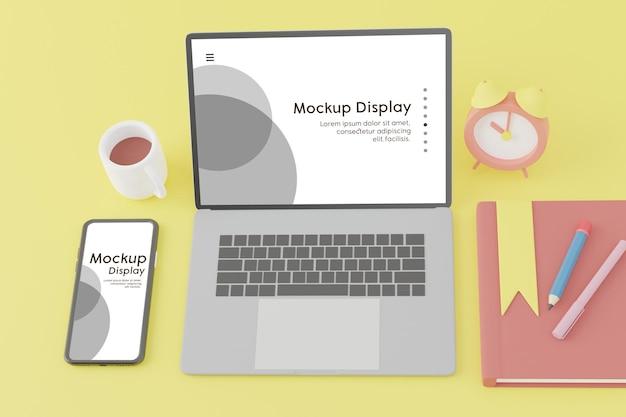 Handy und laptop mit bildschirmplatzierungsmodell