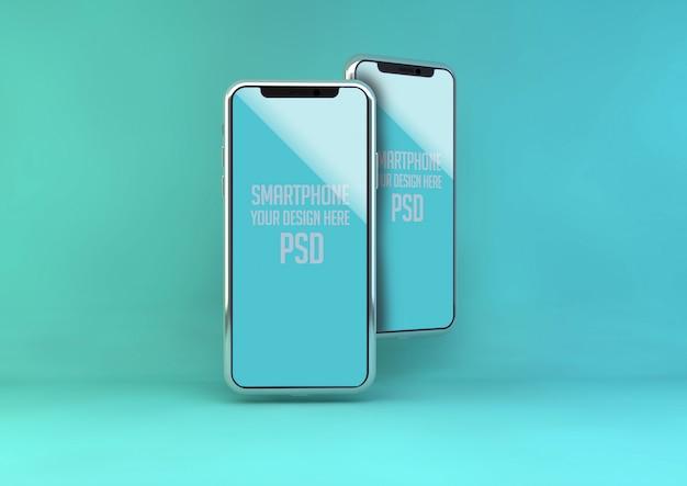 Handy verspotten auf blaue pastellwand Premium PSD