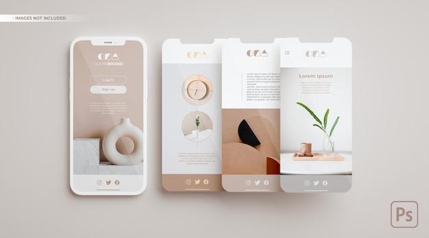 Handymodell und drei bildschirme, die in 3d-rendering schweben. app-designkonzept