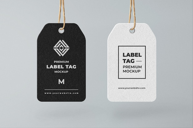 Hanging tag label mockup schwarz-weiß-minimalist