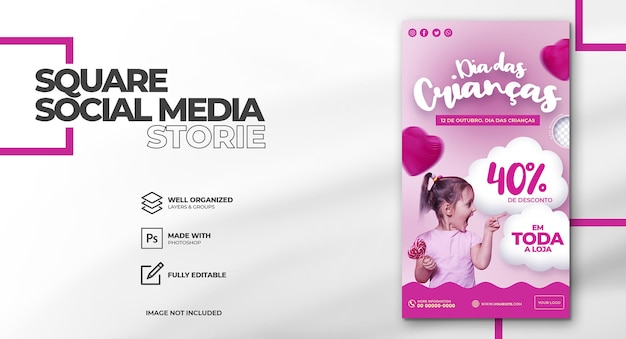 Happy children day dia das criancas in brasilien social-media-templat