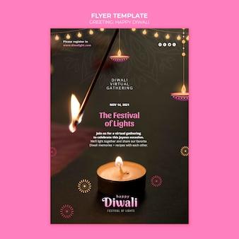 Happy diwali feier flyer vorlage