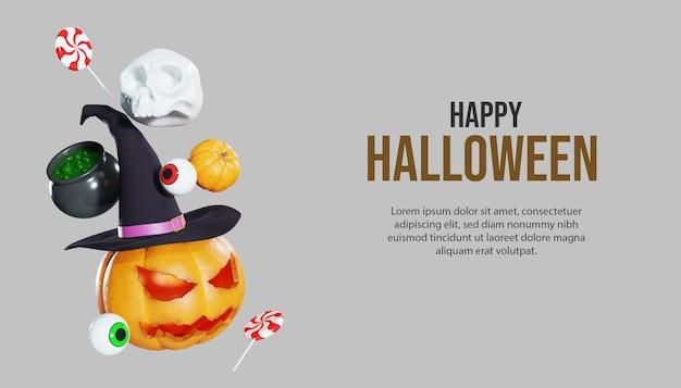 Happy halloween 3d-kürbis-hintergrund