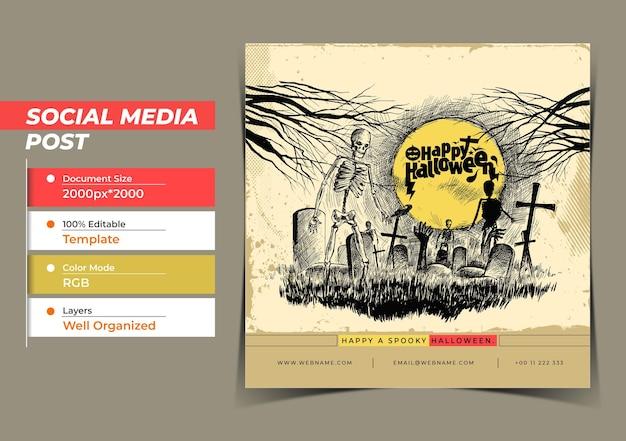 Happy halloween festival digitales konzept instagram und social me