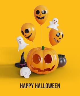 Happy halloween-hintergrund mit 3d-kürbisballon und geist