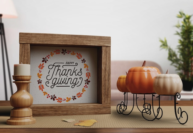 Happy thanksgiving day nachricht auf frame