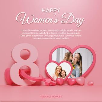 Happy women's day 3d-render-fotorahmen-modell