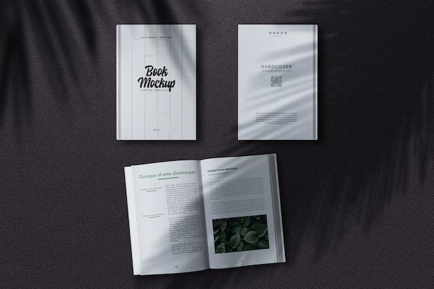 Hardcover-buchmodell aus der draufsicht