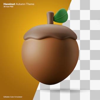 Haselnuss herbst thema 3d-darstellung rendering symbol editierbar isoliert