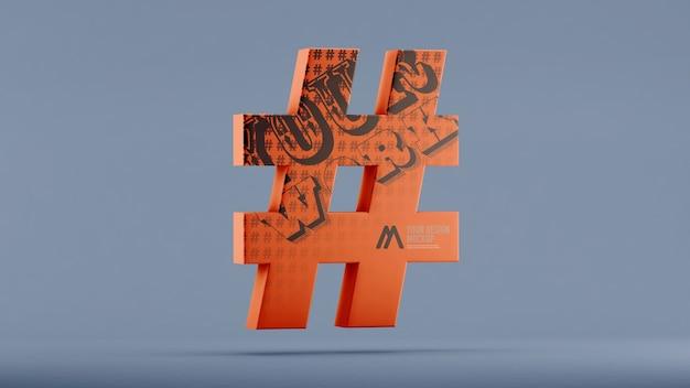 Hashtag-modell im 3d-rendering isoliert